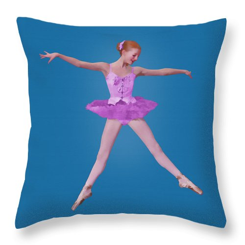 Ballet Throw Pillow featuring the photograph Ballerina In Pink by Delores Knowles