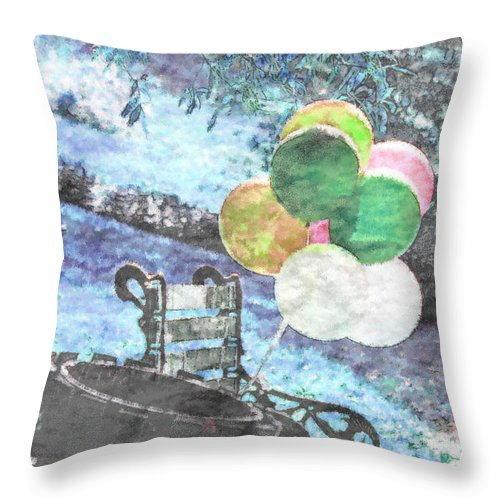Balloons Throw Pillow featuring the photograph Balloons In The Park by Donna Bentley