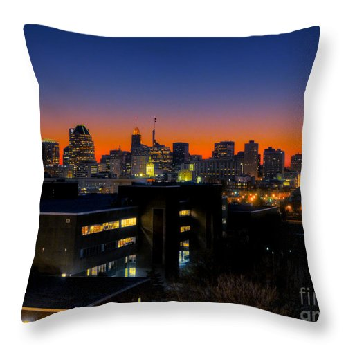 Hdr Photograph Throw Pillow featuring the photograph Baltimore At Sunset by Mark Dodd