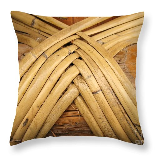 Bamboo Throw Pillow featuring the photograph Bamboo And Wood Construction by Yali Shi