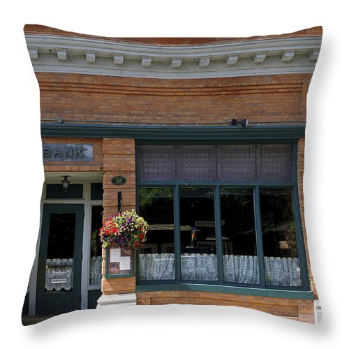 Historic Brick Bank Building Now Restaurant Throw Pillow featuring the photograph Bank Now Restaurant by Sally Weigand