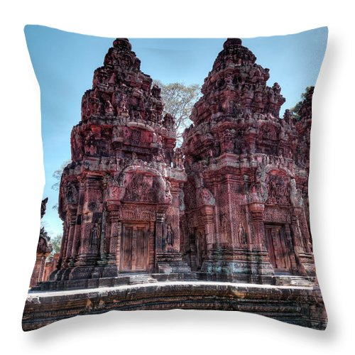 Banteay Srei Throw Pillow featuring the photograph Banteay Srei Temple Central Towers by MotHaiBaPhoto Prints