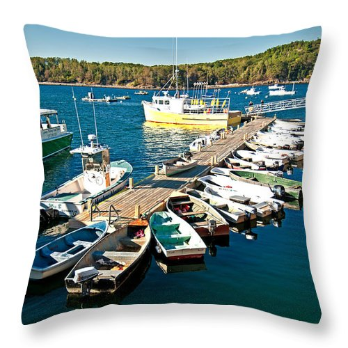 acadia National Park Throw Pillow featuring the photograph Bar Harbor Boat Dock by Paul Mangold