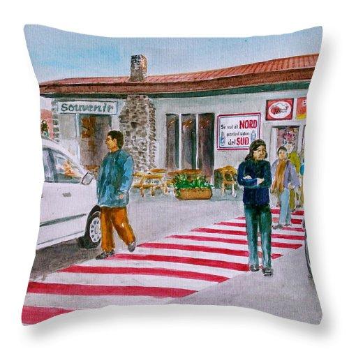 Catania Sicily Mt Etna Bar Ristonrante Edge Of Volcano Tourists Throw Pillow featuring the painting Bar Ristorante Mt. Etna Sicily by Frank Hunter