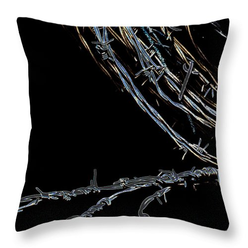 Barbed Wire Throw Pillow featuring the photograph Barbed Wire by David Patterson