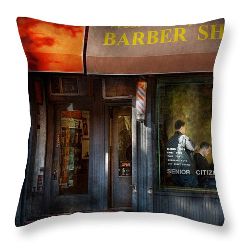Barber Throw Pillow featuring the photograph Barber - Ny - Greenwich Village - West Village Barber Shop by Mike Savad