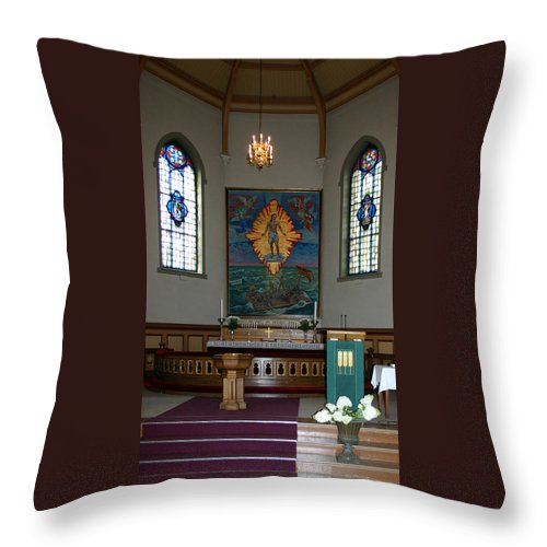 Architecture Throw Pillow featuring the photograph Barbu Kirke Altar by Nina Fosdick
