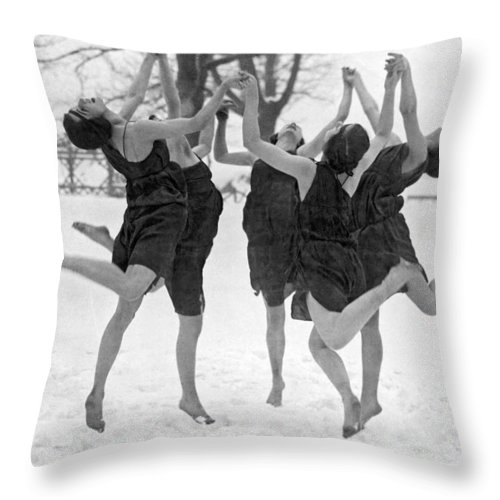 1910's Throw Pillow featuring the photograph Barefoot Dance In The Snow by Underwood Archives
