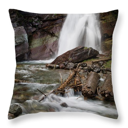 Glacier National Park Throw Pillow featuring the photograph Baring Falls In Spring by Greg Nyquist
