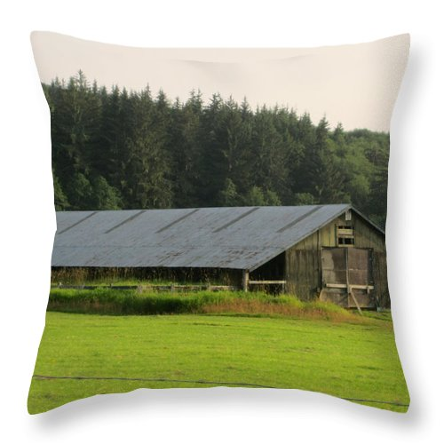 Nice Barn Throw Pillow featuring the photograph Barn And Barbwire by Kym Backland