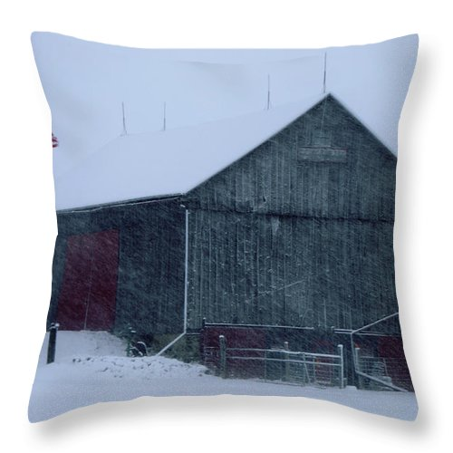Barn Throw Pillow featuring the photograph Barn In Winter by Ronald Grogan