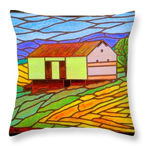 Spring Hill Throw Pillow featuring the painting Barn On Springhill Road by Jim Harris