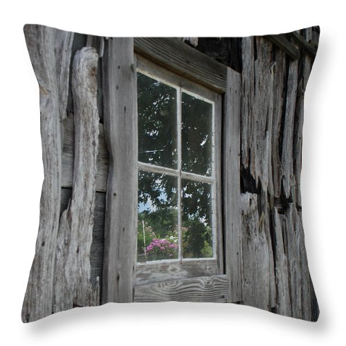 Barn Throw Pillow featuring the photograph Barn Window Reflection by Grace Grogan