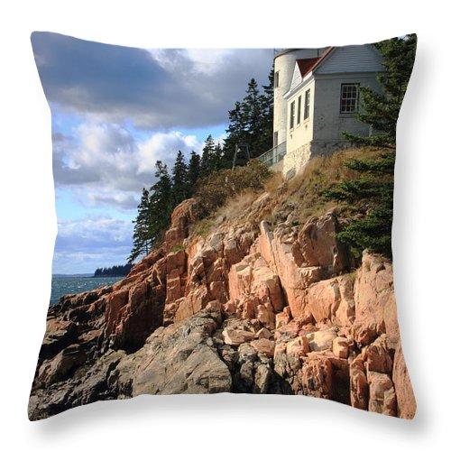 Bass Harbor Head Lighthouse Throw Pillow featuring the photograph Bass Harbor Head Lighthouse by Roupen Baker