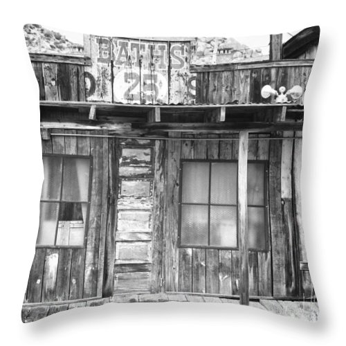 Baths Throw Pillow featuring the photograph Baths Twenty Five Cents Bw by James BO Insogna