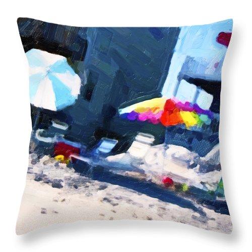 Beach Throw Pillow featuring the digital art Beach by Betsy Knapp