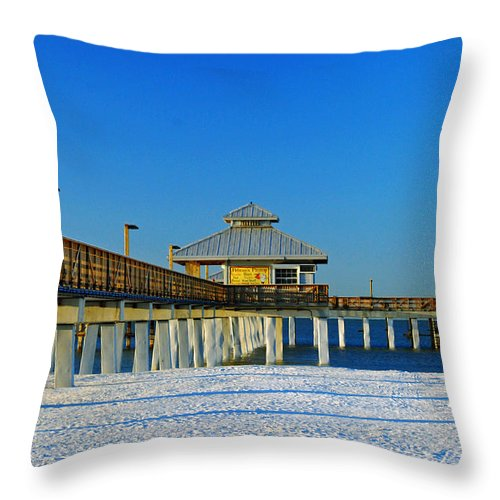 Blue Sky Throw Pillow featuring the photograph Beach Pier by Gary Wonning