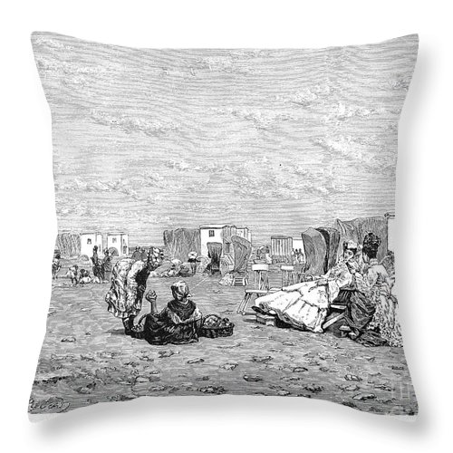 19th Century Throw Pillow featuring the photograph Beach Scene, 19th Century by Granger