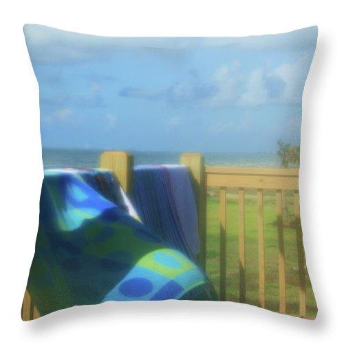 Beach Throw Pillow featuring the photograph Beach Towels by Kim Henderson