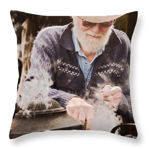 Making Billy Tea Throw Pillow featuring the photograph Bearded Miner Making Billy Tea by Sally Weigand