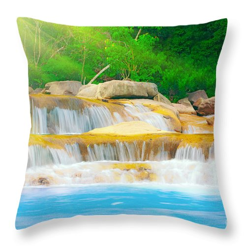 Cascade Throw Pillow featuring the photograph Beautiful Cascade Fall In Tropical Forest by MotHaiBaPhoto Prints