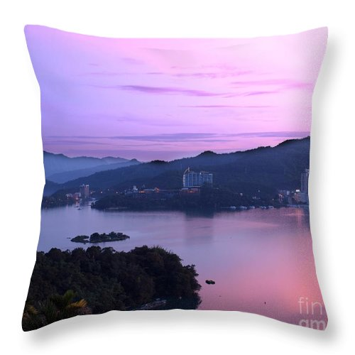 Scenery Throw Pillow featuring the photograph Beautiful Dawn At Sun Moon Lake by Yali Shi
