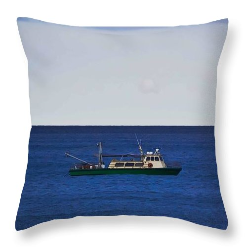 Ocean Throw Pillow featuring the photograph Beautiful Day For Shrimping by DigiArt Diaries by Vicky B Fuller