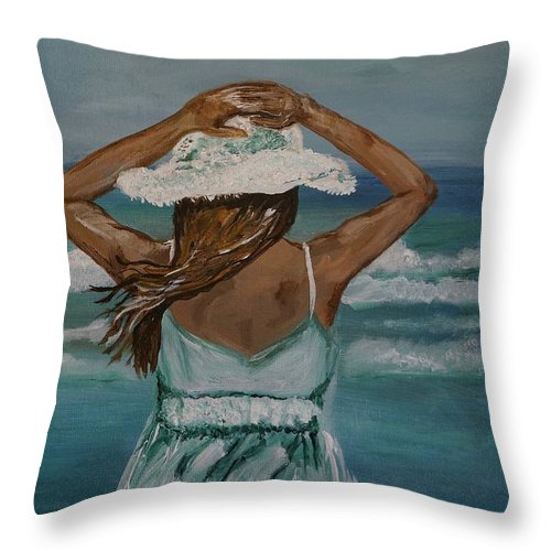 Woman Throw Pillow featuring the painting Beautiful Day by Leslie Allen