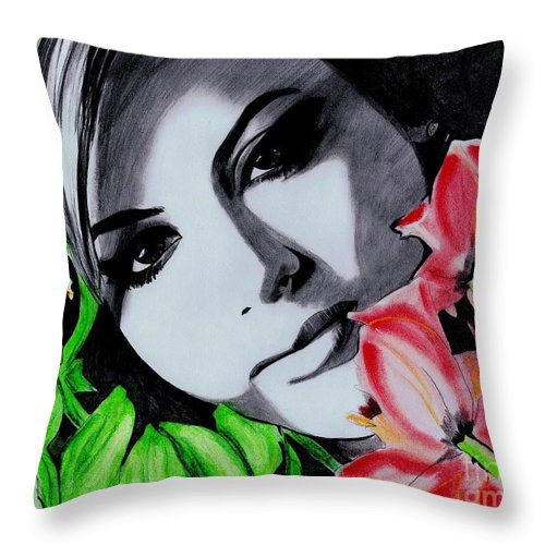 Lady With Flowers Throw Pillow featuring the drawing Beautiful by Gil Fong