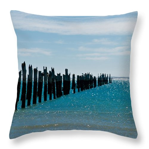 Abstract Throw Pillow featuring the photograph Beautiful Rotten Mooring On A Beach by U Schade