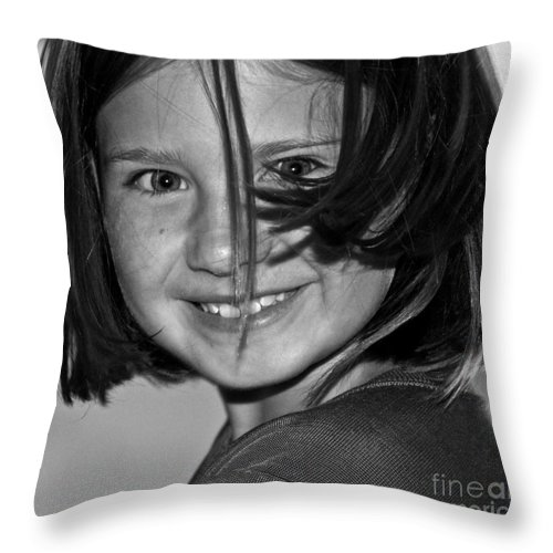 Girl Throw Pillow featuring the photograph Beautifully Candid by Gwyn Newcombe