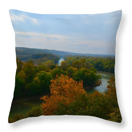 Landscape Throw Pillow featuring the photograph Beauty On The Bluffs Autumn Colors by Peggy Franz