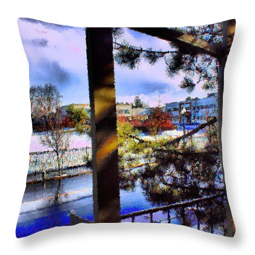 Urban Impressionism 2011 Throw Pillow featuring the mixed media Beaverton H.s. Winter 2011 by Terence Morrissey