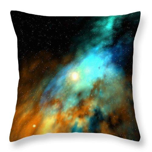 Nebula Space Art Throw Pillow featuring the digital art Beducas nebula by Robert aka Bobby Ray Howle