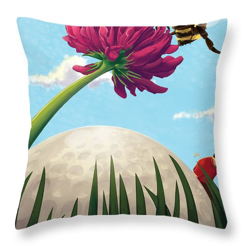 Golf Throw Pillow featuring the painting All Players Great And Small - Bee by Len Ross