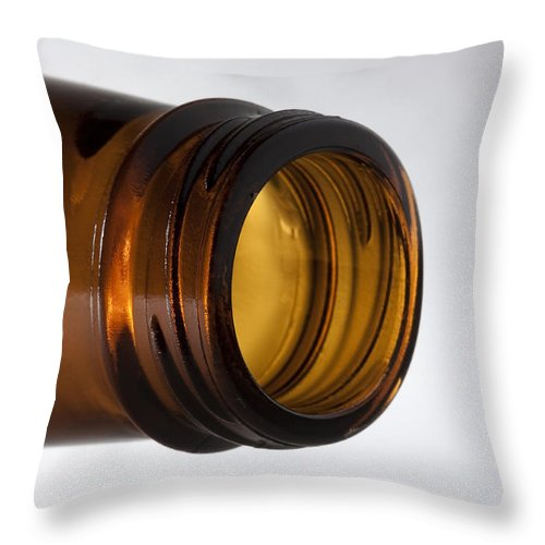 Beverage Throw Pillow featuring the photograph Beer Bottle Neck 1 A by John Brueske