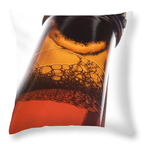 Beverage Throw Pillow featuring the photograph Beer Bottle Neck 2 F by John Brueske