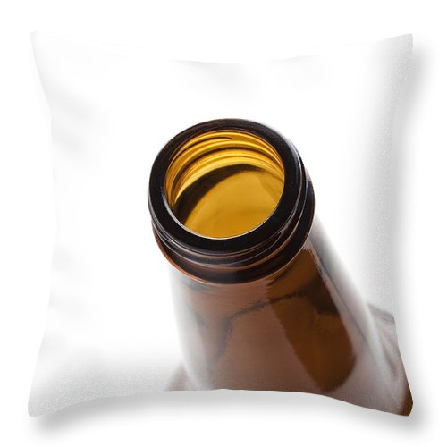 Beverage Throw Pillow featuring the photograph Beer Bottle Neck 3 by John Brueske
