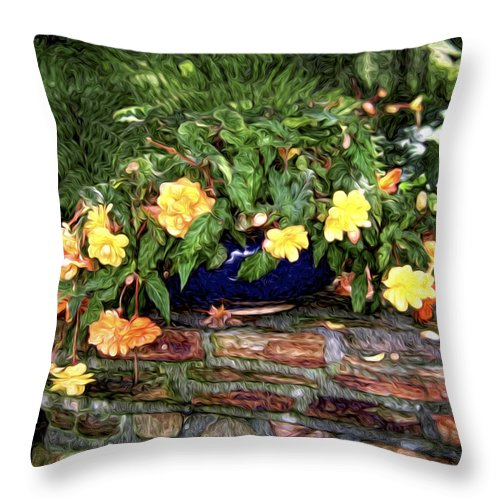 Begonia Throw Pillow featuring the photograph Begonia by Tammy Wetzel