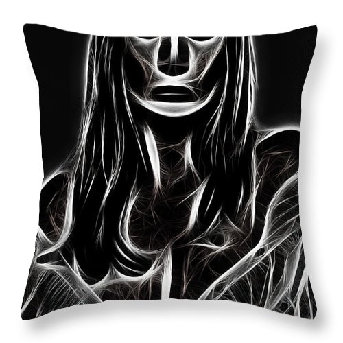 Women Female Painting Abstract Black White Bw Mask Portrait Expressionism Impressionism Throw Pillow featuring the digital art Behind A Mask by Steve K