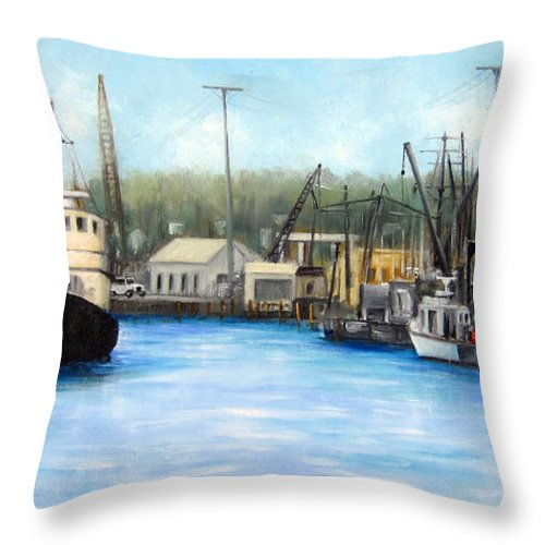 Fishing Seasport Throw Pillow featuring the painting Belford Fishing Seaport Nj by Leonardo Ruggieri