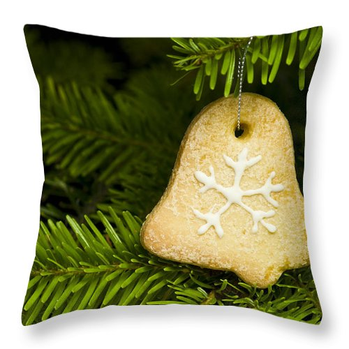 Advent Throw Pillow featuring the photograph Bell Shape Short Bread Cookie by U Schade