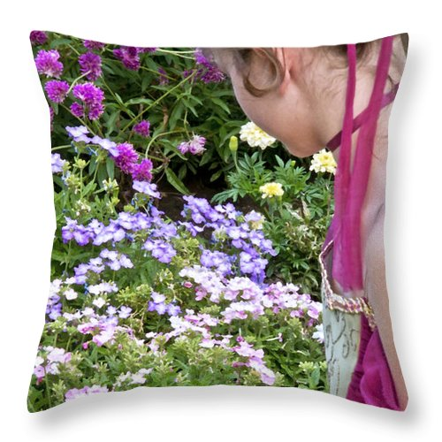 Girl Throw Pillow featuring the photograph Belle In The Garden by Angelina Vick