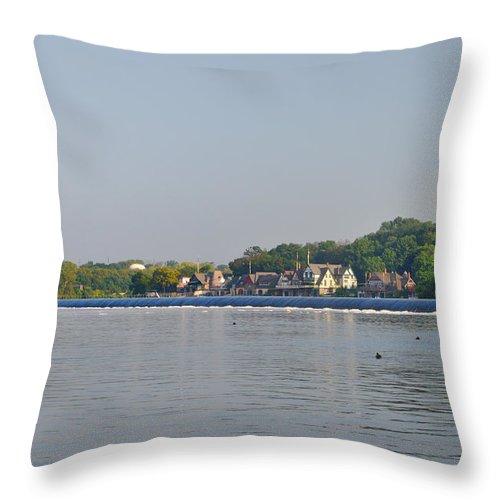 Below The Fairmount Dam Throw Pillow featuring the photograph Below The Fairmount Dam by Bill Cannon