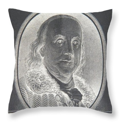 Ben Franklin Throw Pillow featuring the photograph Ben Franklin In Negative by Rob Hans