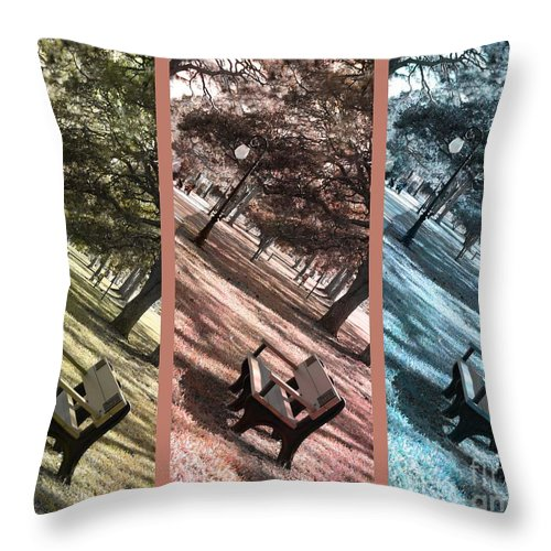 Triptych Throw Pillow featuring the photograph Bench In The Park Triptych by Susanne Van Hulst