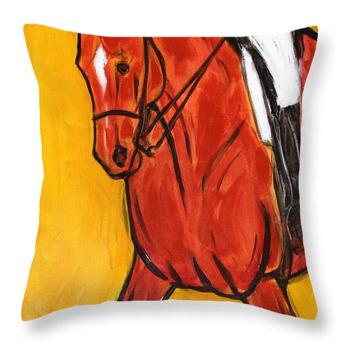 Horse Throw Pillow featuring the painting Bend II by Helen Scanlon