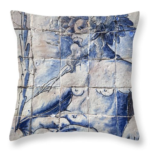 Architecture Throw Pillow featuring the photograph Benfica, Lisbon, Portugal by Axiom Photographic