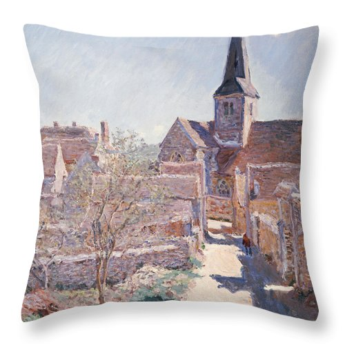French Throw Pillow featuring the painting Bennecourt by Claude Monet