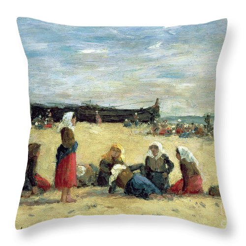 Berck Throw Pillow featuring the painting Berck - Fisherwomen On The Beach by Eugene Louis Boudin